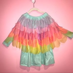 Cat & Jack Aqua Rainbow Ruffle Wing Dress Size 4/5